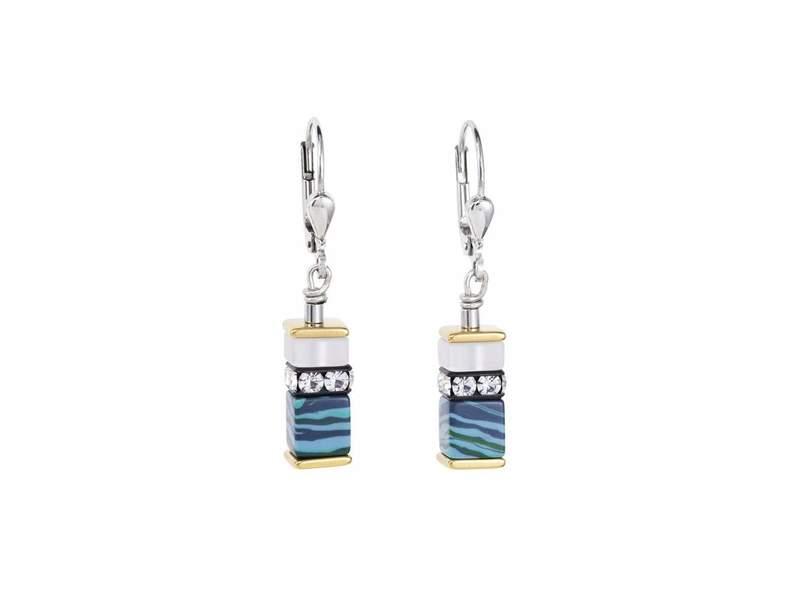 Coeur De Lion Sea Blue Multitone Geocube Earrings