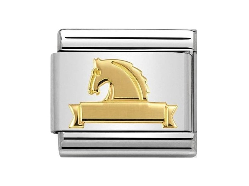 Product standard 030149 25   nomination italy   composable horse at fence link    gold   8033497440587