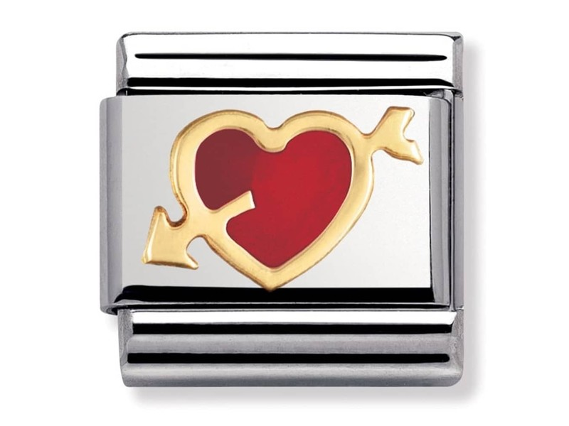Product standard 030207 12   nomination italy   composable red heart   arrow link    gold   8033497014009