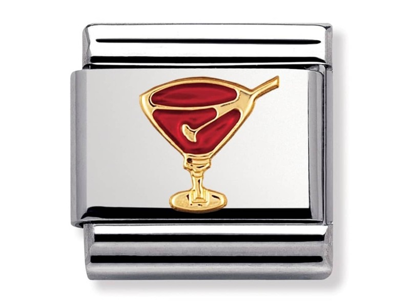 Product standard 030209 29   nomination italy   composable red cocktail link    gold   8033497038746