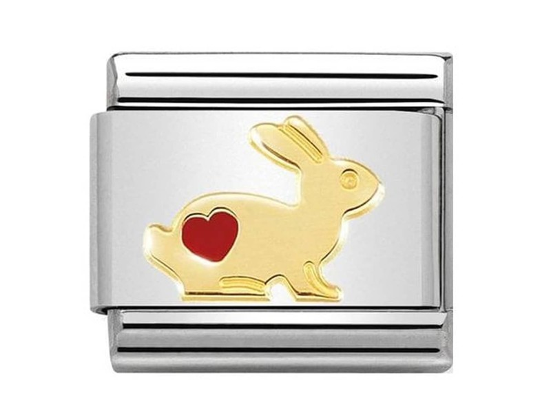 Product standard 030272 46   nomination italy   composable rabbit with heart link    gold   8033497460950