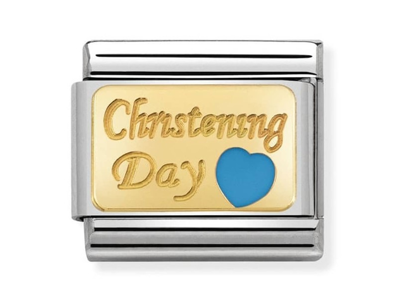Product standard 030284 23   nomination italy   composable christening day blue link    gold   8033497429797