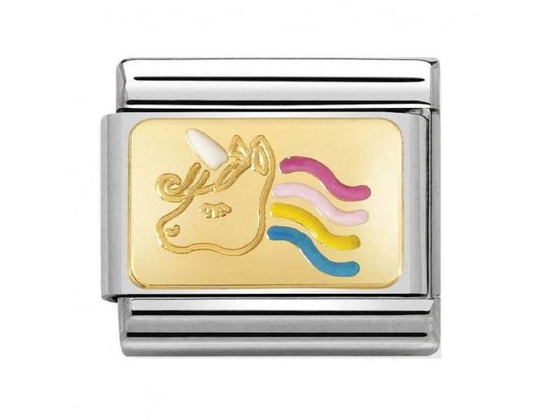 Product standard 030284 28   nomination italy   composable rainbow unicorn link    gold   8033497451385