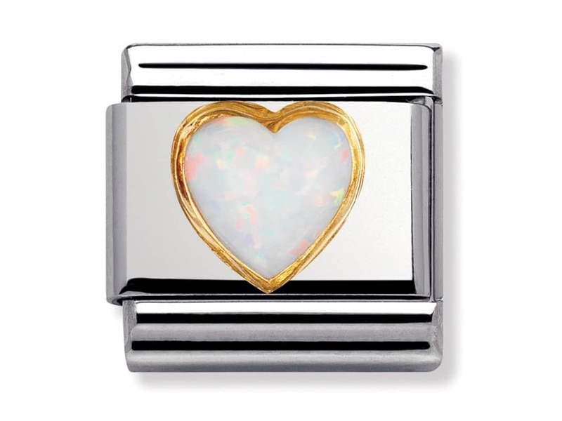 Product standard 030501 07   nomination italy   composable heart white opal link    gold   8033497019820