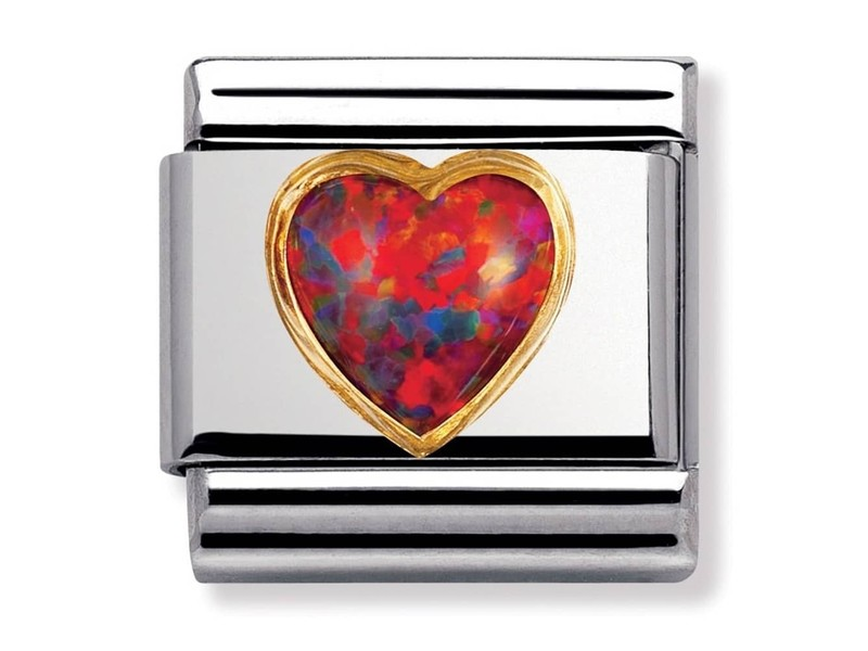 Product standard 030501 08   nomination italy   composable red opal heart link   gold   8033497019837