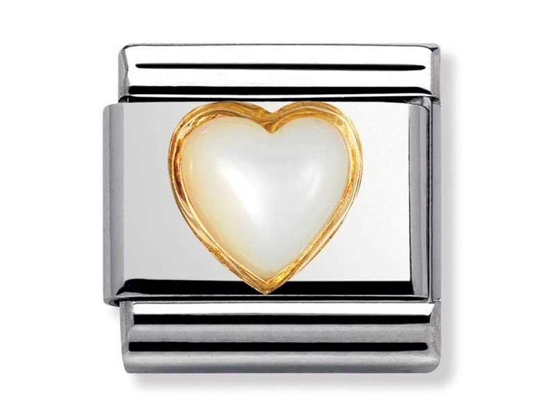 Product standard 030501 12   nomination italy   composable mother of pearl heart link    gold   8033497019875