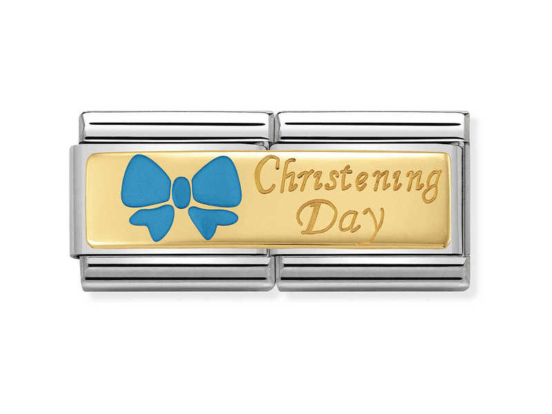 Product standard 030720 05   nomination italy   composable blue christening day double link    gold   8033497429988