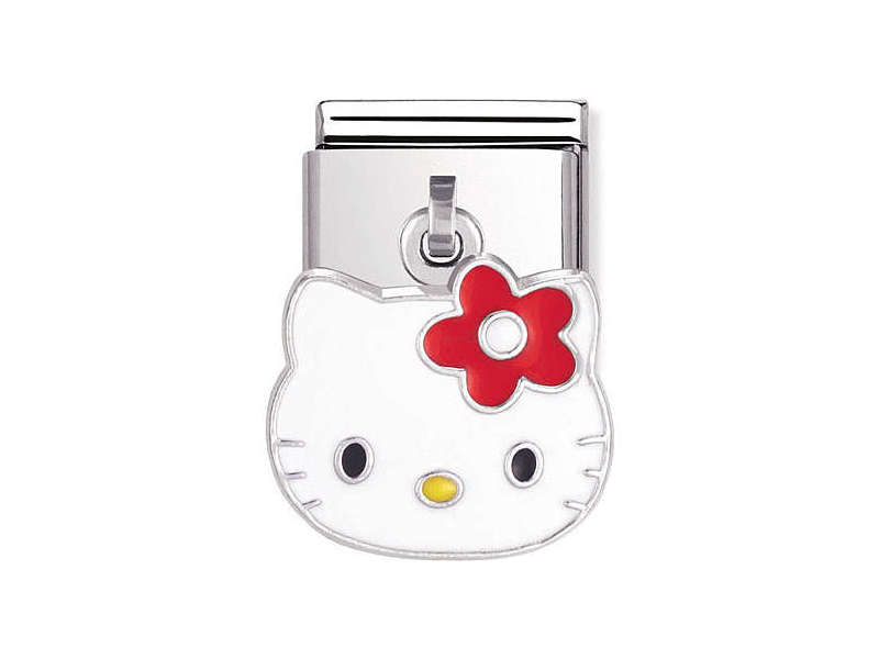 Product standard 031780 01   nomination italy   composable hello kitty red flower charm link    silver