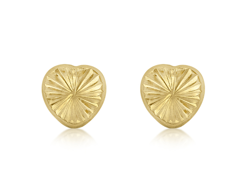 Product standard 1.55.1463   fourth avenue   our gold small diamond cut heart stud earrings   gold