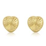 Fourth Avenue Gold Small Diamond Cut Heart Stud Earrings