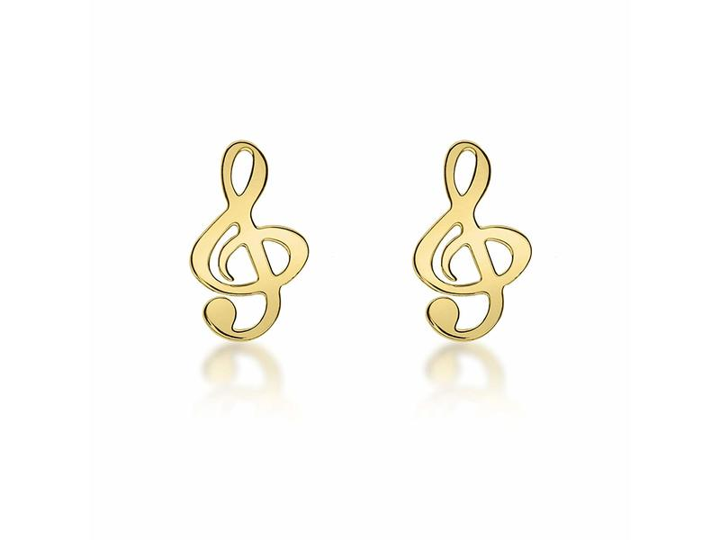 Product standard 1.55.8439   fourth avenue   our gold treble clef stud earrings   gold