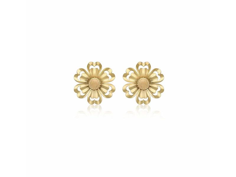 Product standard 1.55.8969   fourth avenue   our gold satun polished flower stud earrings    gold
