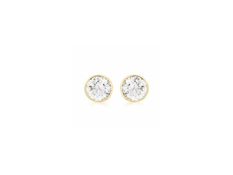 Fourth Avenue Gold & Cz Rub Over Stud Earrings