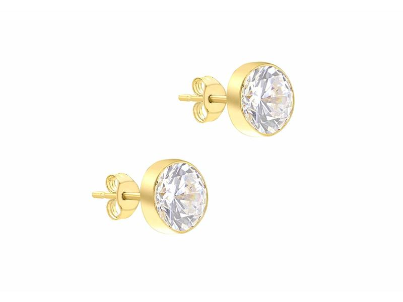 Product standard 1.57.7529   fourth avenue   our gold   cz rub over stud earrings   gold