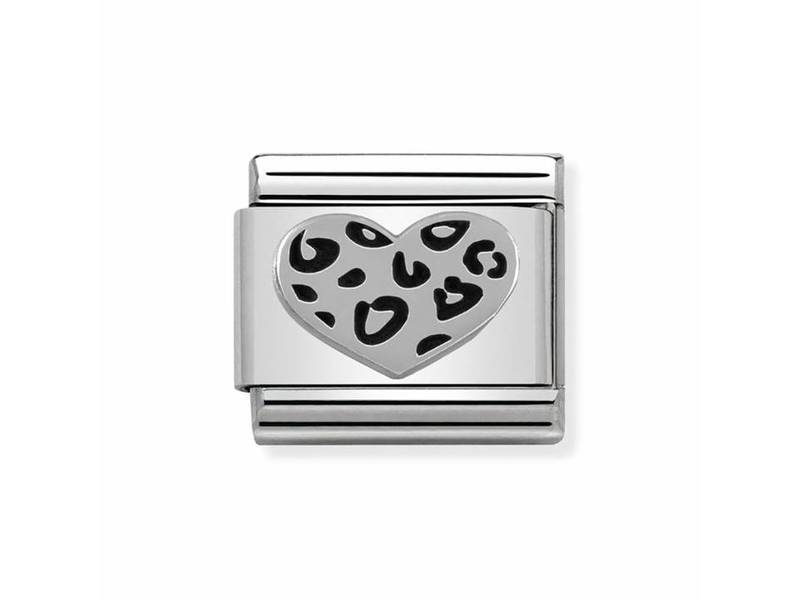 Product standard 330101 05   nomination italy   composable leopard heart link   silver   8033497342485