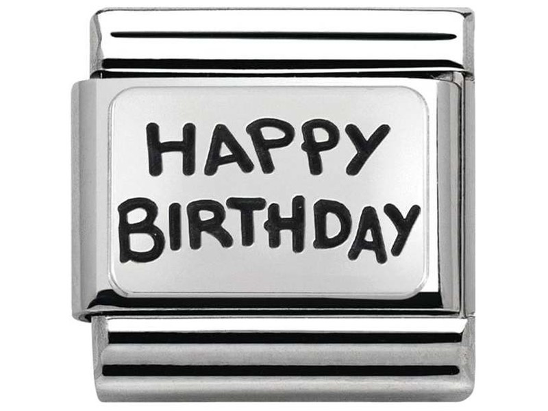 Product standard 330102 41   nomination italy   composable happy birthday link   silver   8033497409065