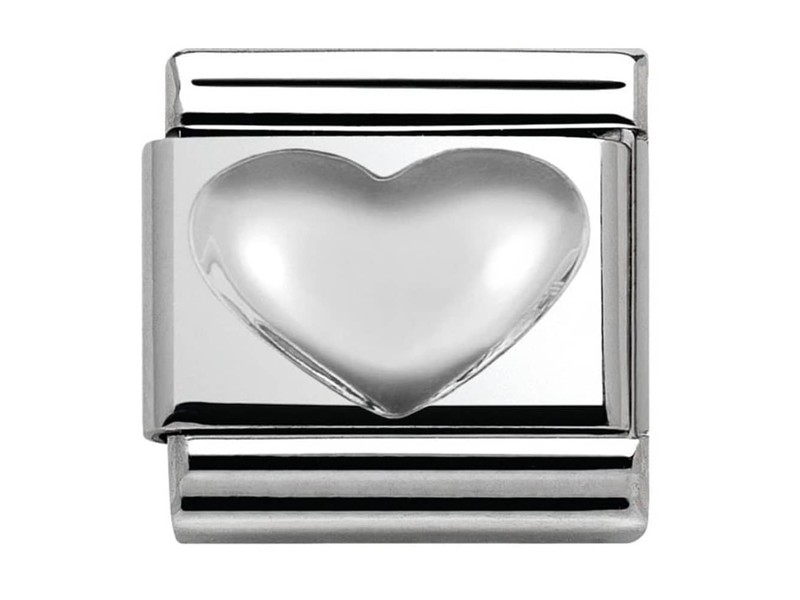 Product standard 330106 01   nomination italy   composable raised heart link    silver   8033497406415