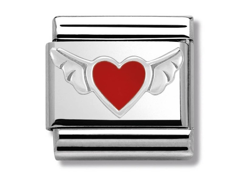 Product standard 330202 01   nomination italy   composable flying red heart link   silver   8033497318169