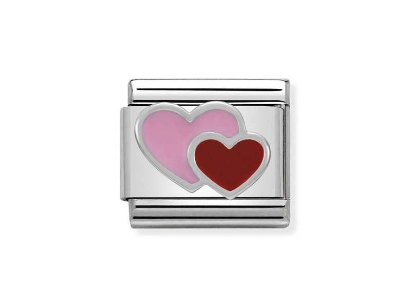 Product standard 330202 16   nomination italy   composable double heart link   silver   8033497332080