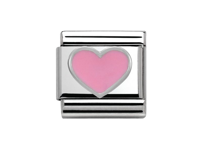 Product standard 330202 18   nomination italy   composable pink heart link    silver   8033497332103
