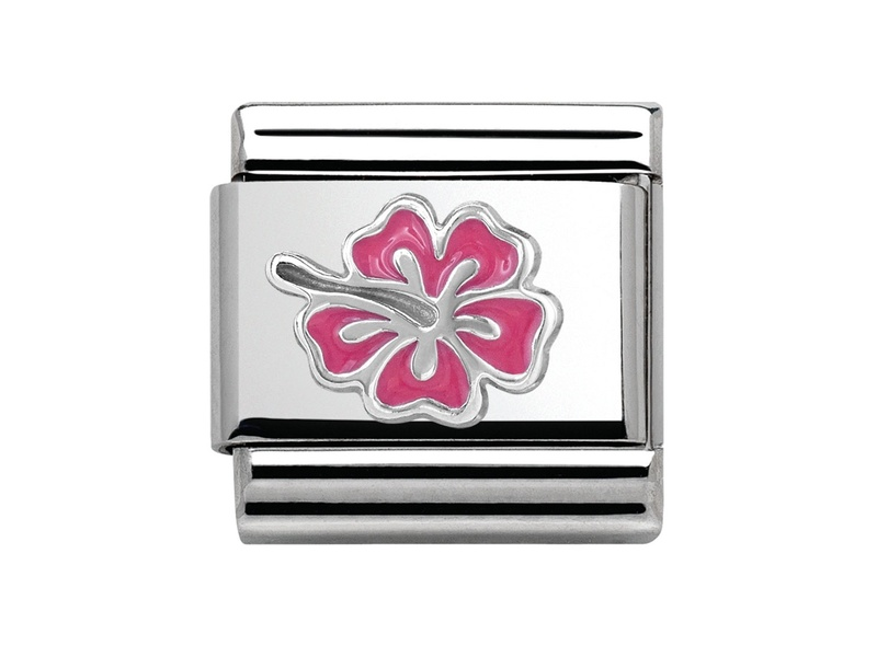 Product standard 330202 24   nomination italy   composable fushia hibiscus link   silver   8033497346346