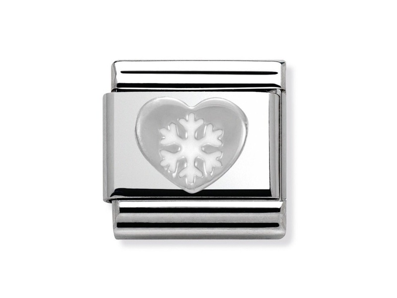 Product standard 330204 02   nomination italy   composable heart with snowflake link   silver   8033497333490