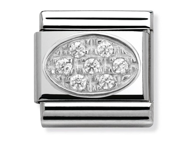 Product standard 330308 01   nomination italy   composable round white pave link    silver   8033497274298