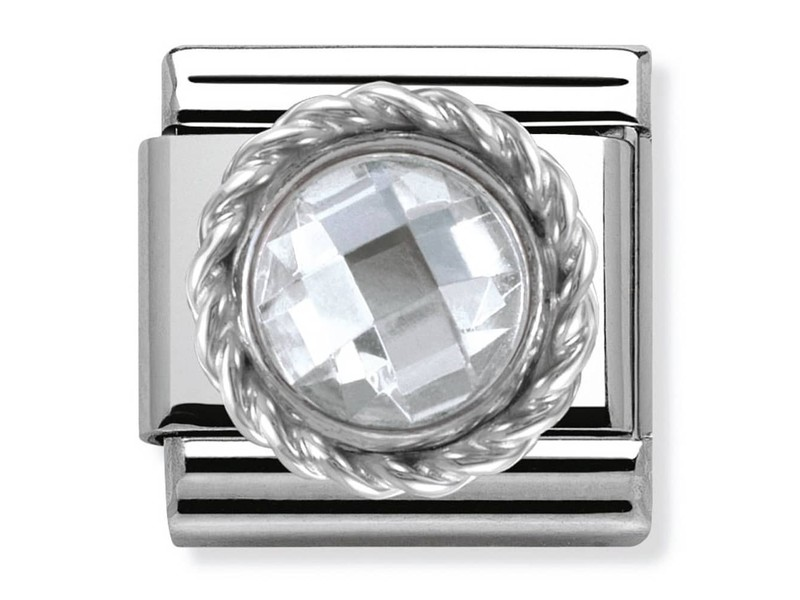 Product standard 330601 010   nomination italy   composable white cz round link    silver   8033497273253