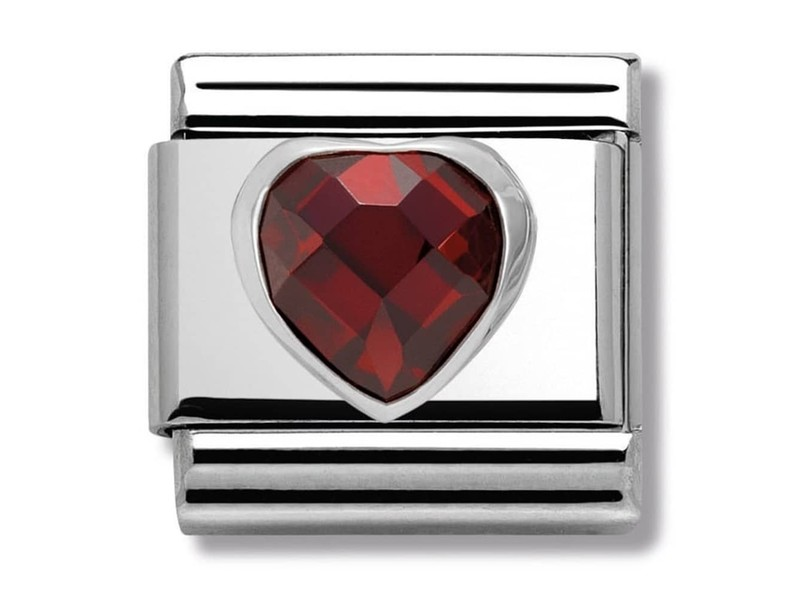 Product standard 330602 005   nomination italy   composable red cz heart link    silver