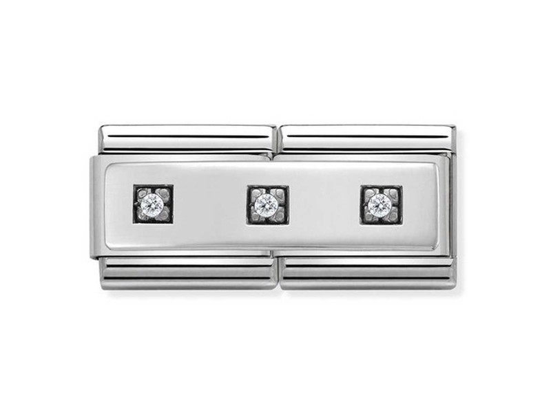 Product standard 330731 01   nomination italy   composable plate with cz double link    silver   8033497412126