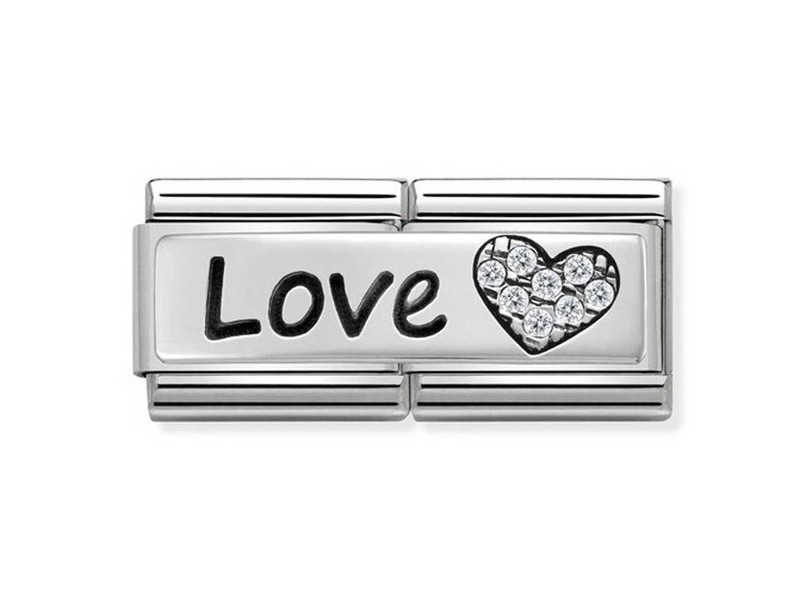 Product standard 330731 05   nomination italy   composable love with heart double link   silver   8033497412164