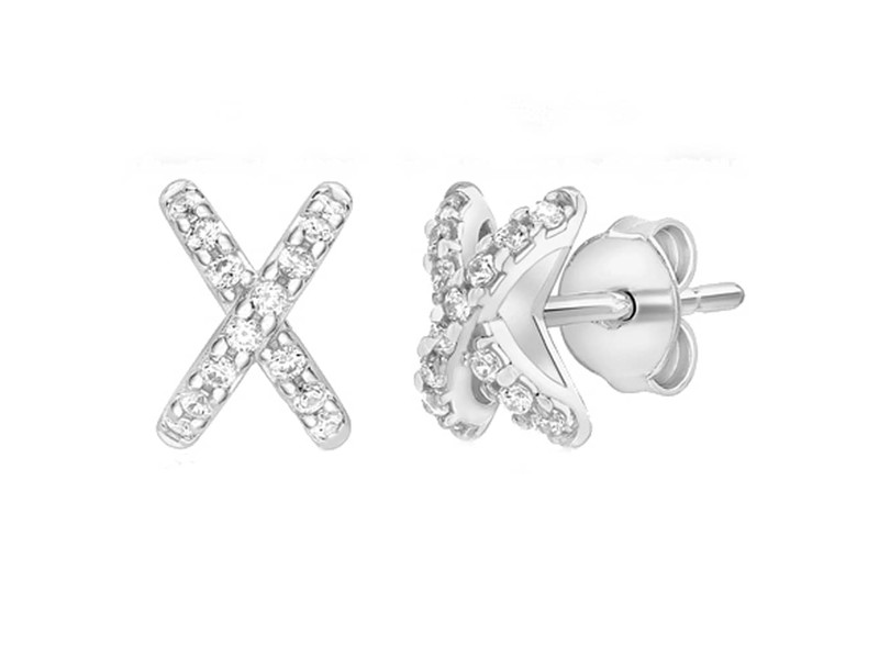 Product standard 5.59.0432   fourth avenue   our white gold   cz kiss stud earrings    white gold