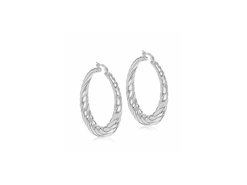 Product standard 8.51.1629   fourth avenue   our silver 50mm twist hoop earrings   silver