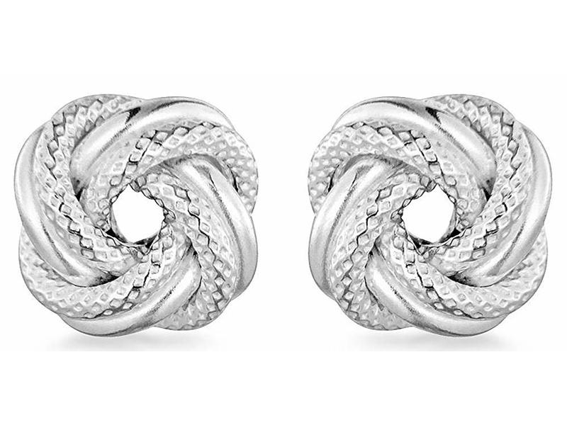 Fourth Avenue Silver Testured Knot Stud Earrings