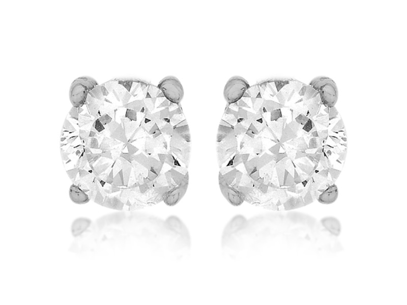 Product standard 8.57.7209   fourth avenue   our silver   cz round solitaire stud earrings    silver
