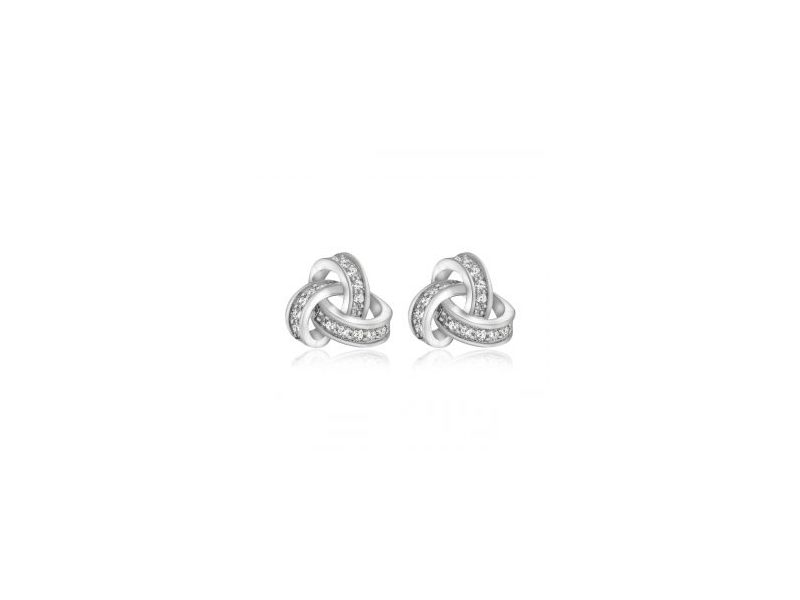 Fourth Avenue Silver & Cz Knot Stud Earrings