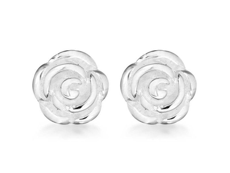 Product standard 8.58.6072   fourth avenue   our silver rose stud earrings   silver