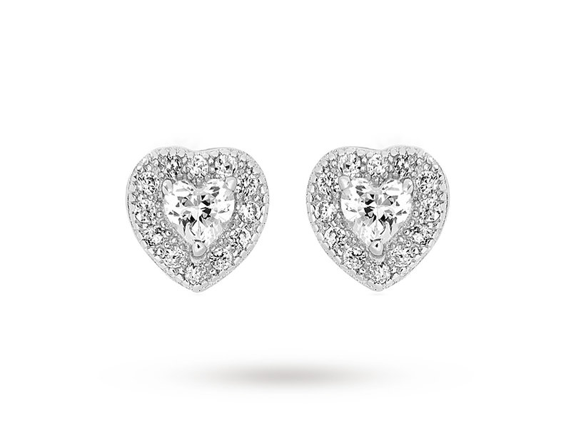Product standard 8.58.7389   fourth avenue   our silver   cz heart cluster stud earrings   silver