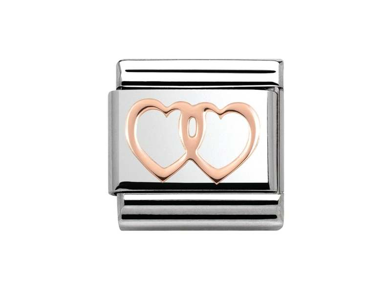 Product standard 430104 08   nomination italy   composable rose double heart link    rose gold   8033497385451