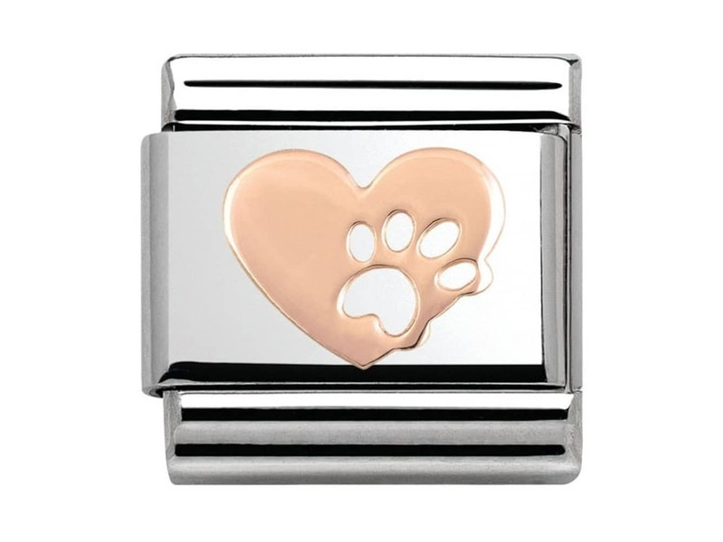 Product standard 430104 12   nomination italy   composable heart with paw link   rose gold   8033497385499