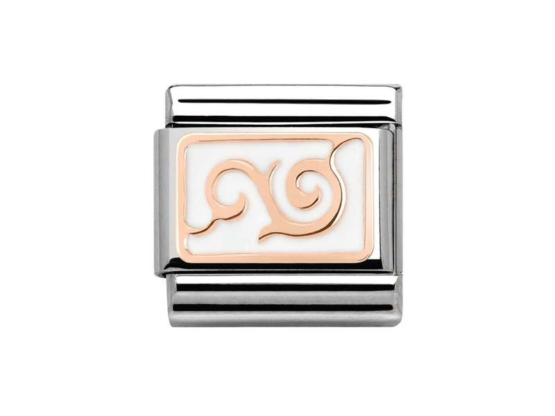 Product standard 430201 15   nomination italy   composable curl with white enamel link   rose gold   8033497388803