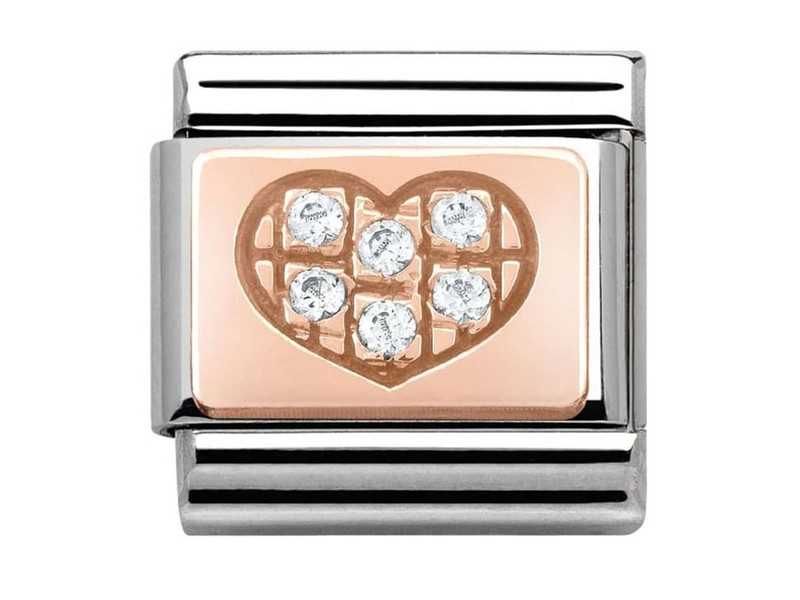 Product standard 430302 01   nomination italy   composable white stone heart link    rose gold   8033497365439