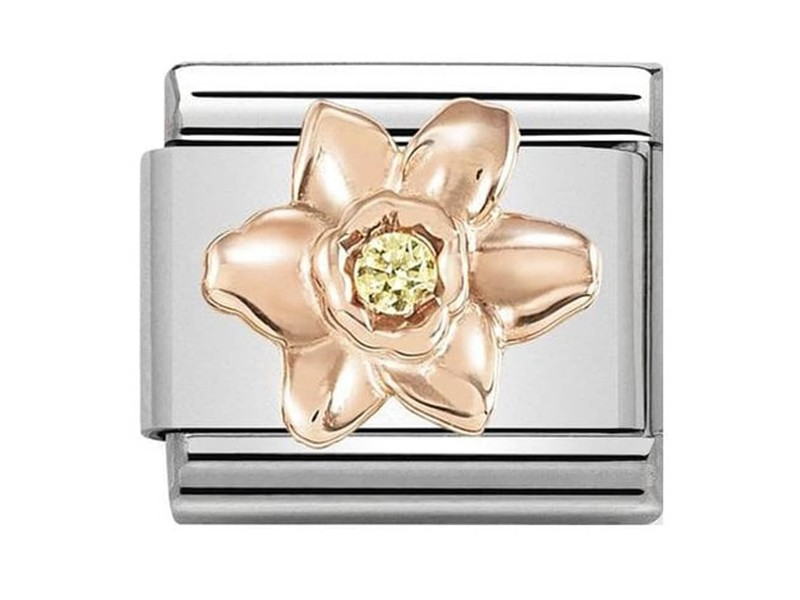 Product standard 430305 13   nomination italy   composable daffodil with yellow stone link   rose gold   8033497461056