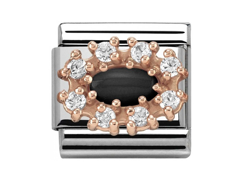 Product standard 430308 02   nomination italy   composable couture clusters black agate link    rose gold   8033497389077