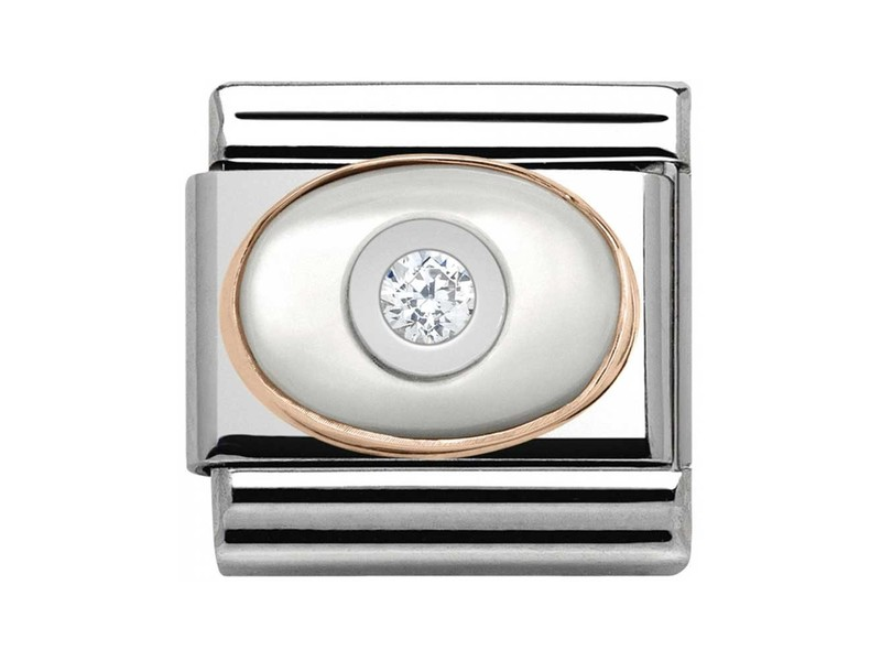 Product standard 430504 01   nomination italy   composable stone set white mother of pearl link    rose gold   8033497388902