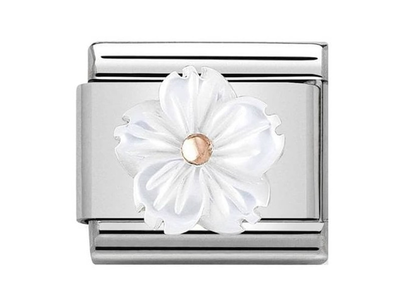Product standard 430510 02   nomination italy   composable flower in white mother of pearl link   rose gold   8033497461339