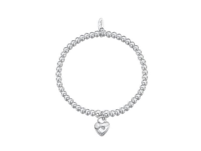 Product standard a001   dollie    dollie silver scuffed heart bracelets    silver