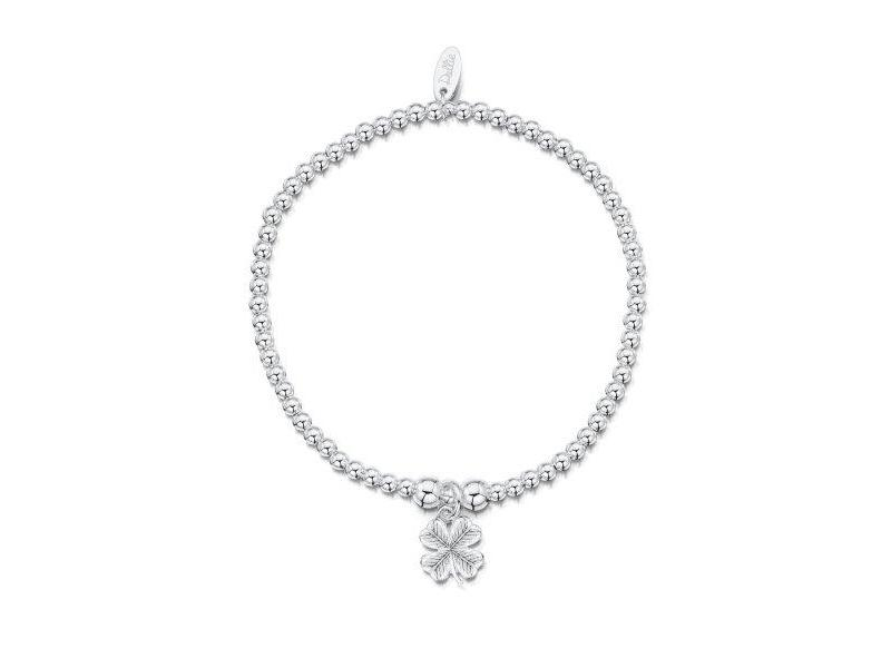 Product standard a022   dollie    dollie silver scuffed clover bracelets   silver