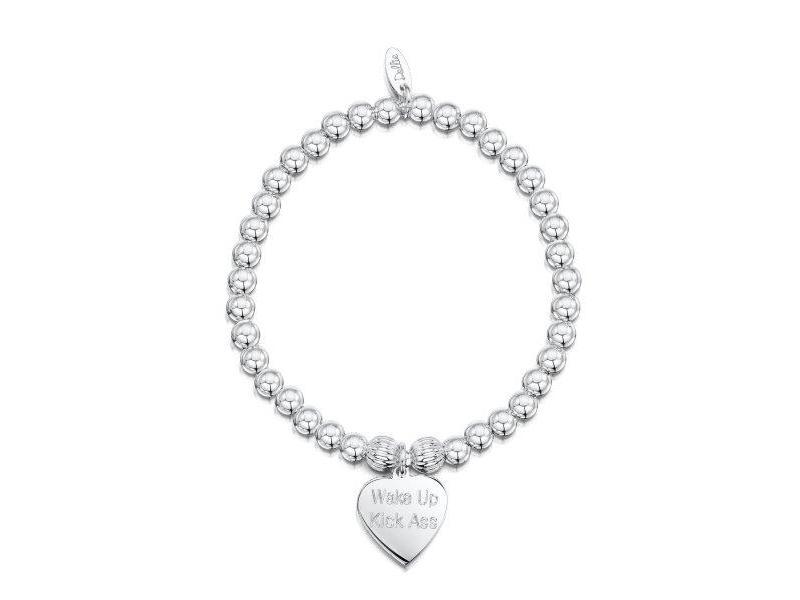 Product standard a082   dollie    dollie silver corrogated heavy heart bracelets    silver