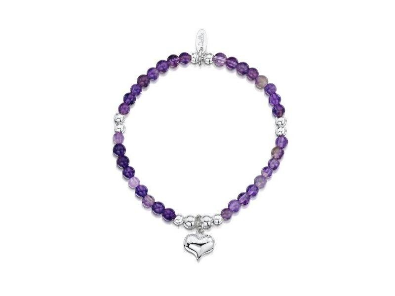 Product standard a098   dollie    dollie amethyst   silver puffed heart bracelets    silver